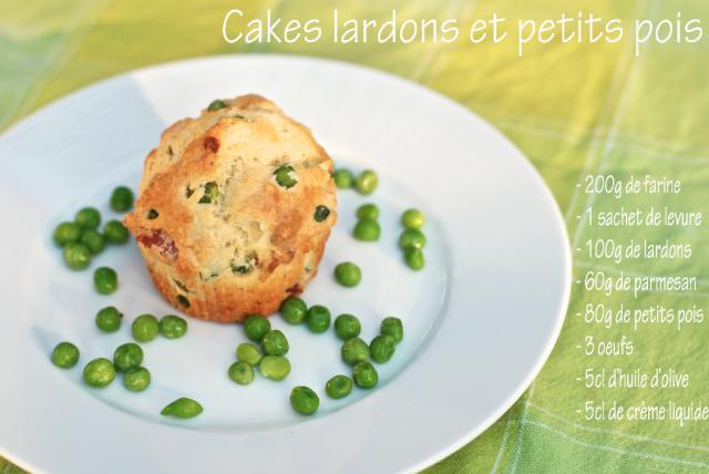 Cakes lardons et petits pois