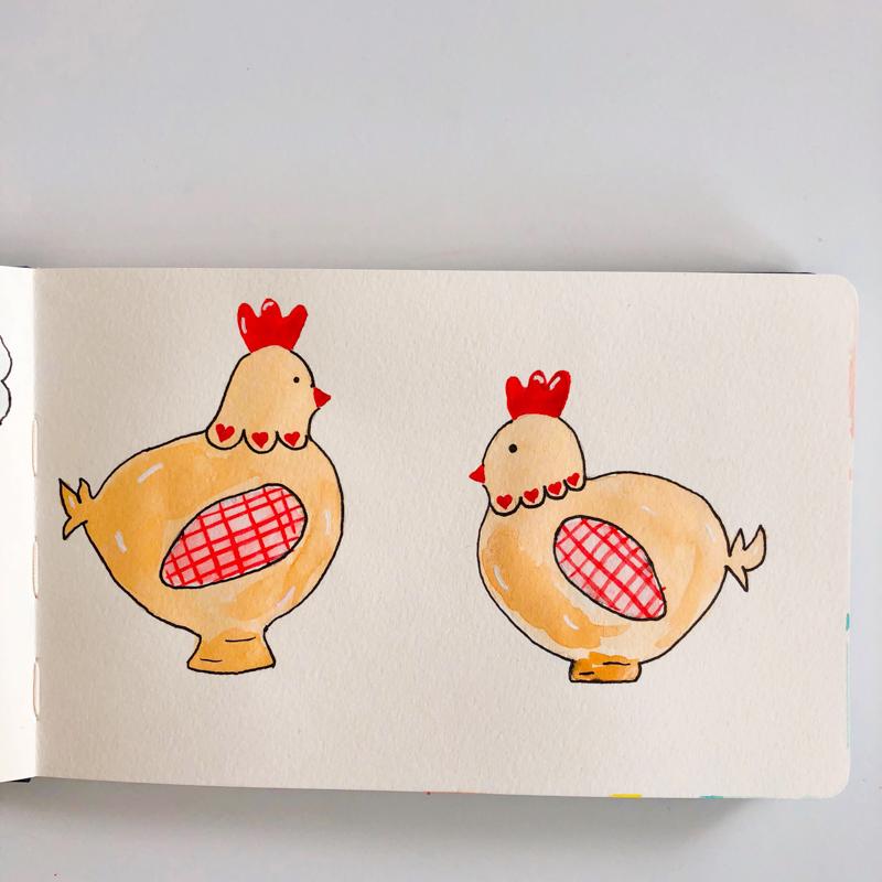 aquarelle-joli-bonheur-poules